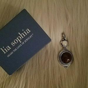 Lia Sophia Pendant Red Jasper & Mother of Pearl